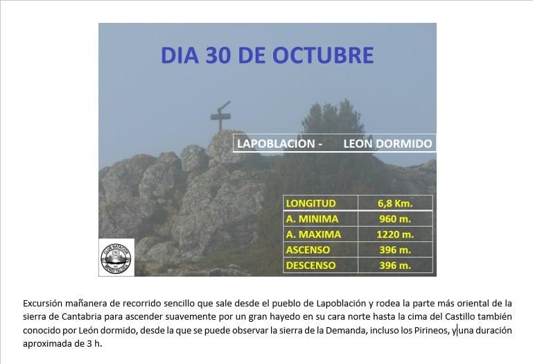 Salida montañera 30 octubre: Lapoblación-León Dormido