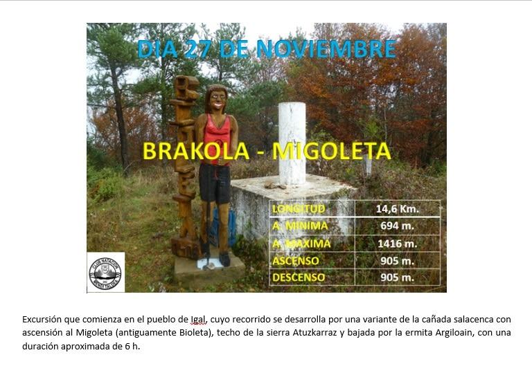 Brakola-Migolet, 27 Noviembre