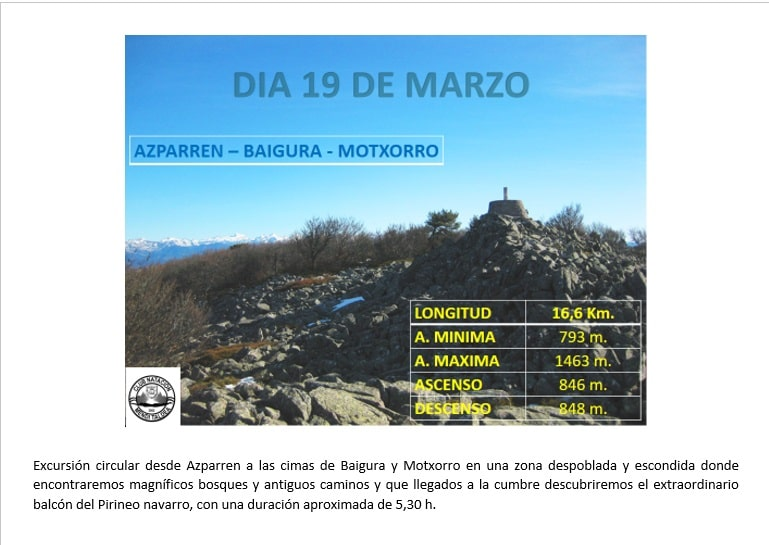 19 Marzo – AZPARREN – BAIGURA – MOTXORRO