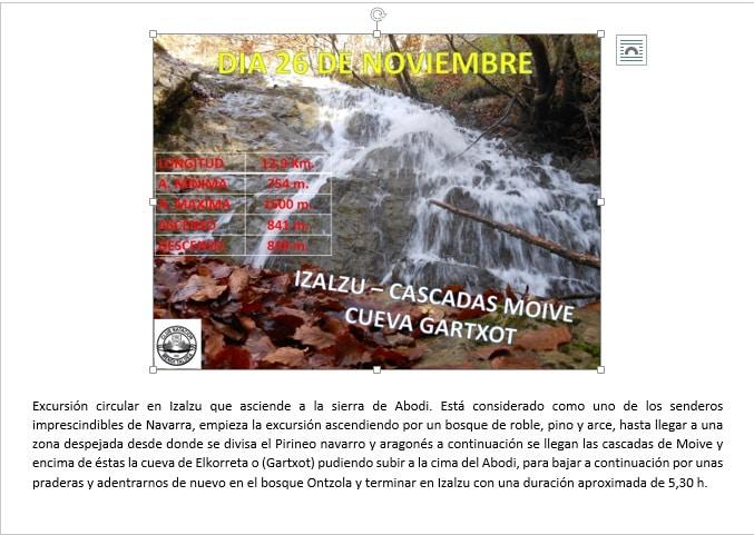 26 Noviembre: Izalzu – Cascadas de Moive – Cueva Gartxot
