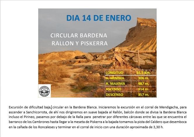 14 Enero 2018 – Circular a la Bardena Blanca
