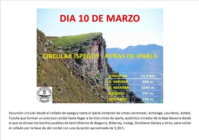Montaña 10 marzo: Ispegui – Peñas de Iparla