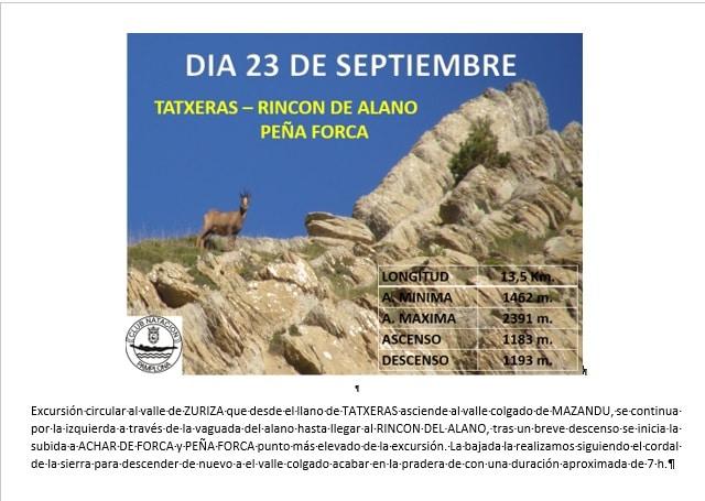Montaña: 23 Septiembre – Tatxeras-Rincón de Alano-Peña Forca