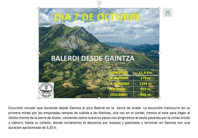 Montaña: 7 Octubre – Balerdi desde Gaintza