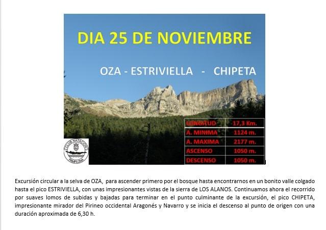 Montaña: 25 Noviembre – Oza – Estriviella – Chipeta