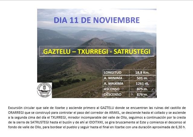 Montaña: 11 Noviembre – Gaztelu-Txurregi-Satrústegi