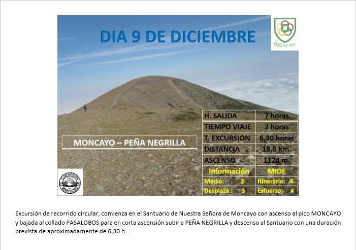 Montaña: 9 Diciembre – Moncayo – Peña Negrilla