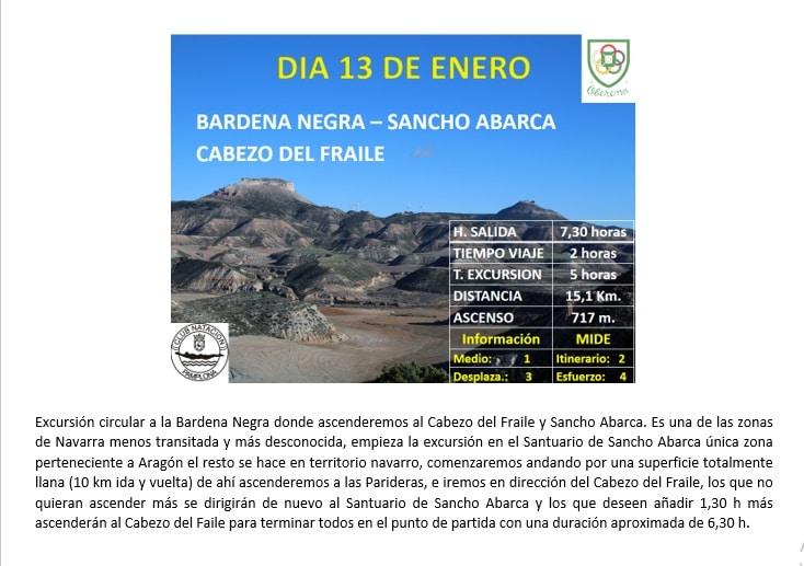 13 Enero: Bardena Negra – Sancho Abarca – Cabezo del Fraile