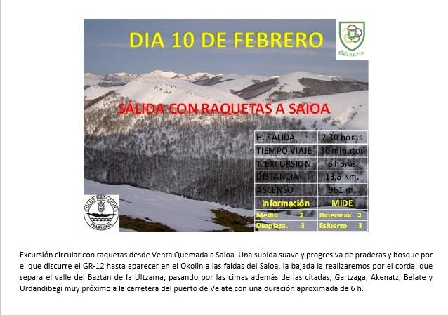 Montaña: 10 Febrero Raquetas a Saioa