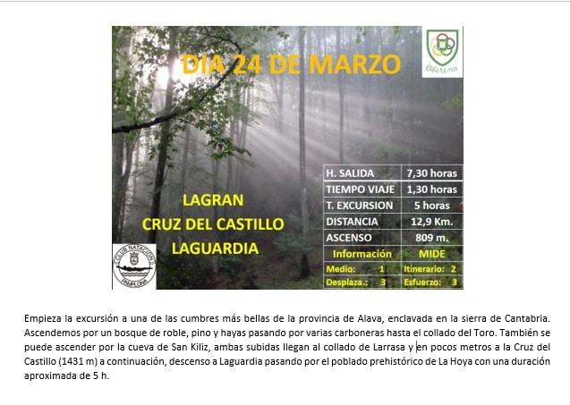 24 Marzo: LAGRAN-CRUZ DEL CASTILLO-LAGUARDIA