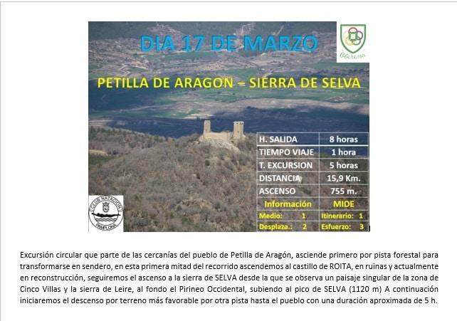 17 MARZO: PETILLA ARAGÓN- CASTILLO ROITA- SIERRA SELVA