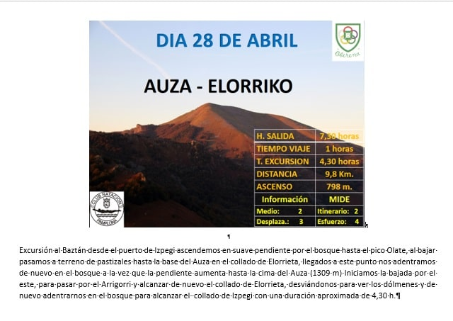 28 Abril: Col d'Ispeguy – Auza – Elorriko