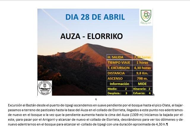 28 Abril: Col d'Ispeguy – Auza – Elorriko