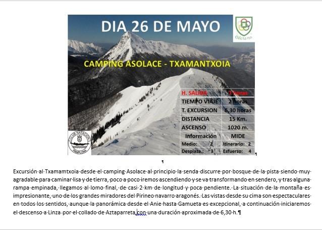 26 Mayo: Camping Asolaze- MAZE- Linza