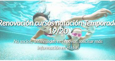 Renovación cursos de natación temporada 2019/2020