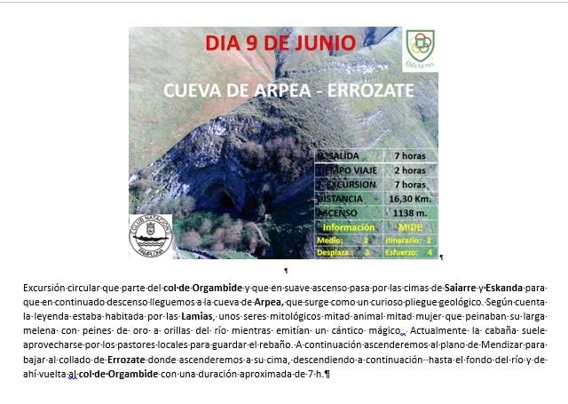 9 Junio: Cueva de Arpea-Errozate