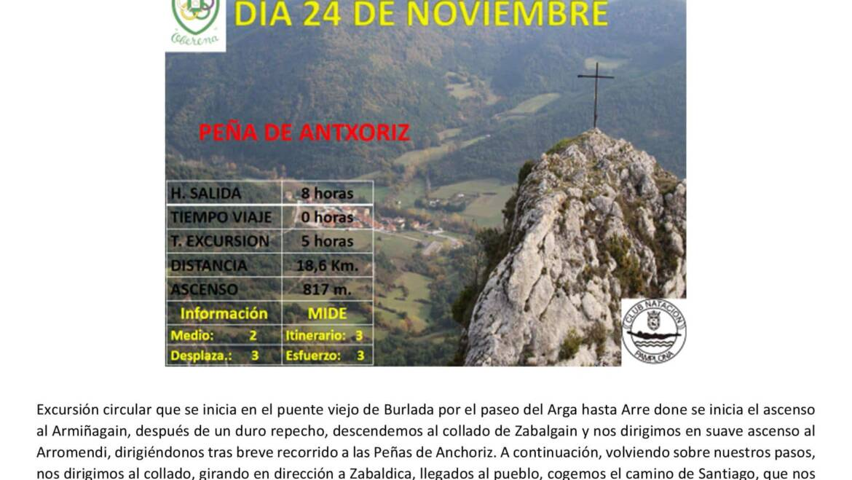 24 Noviembre: Armiñagain-Arromendi- Antxoriz